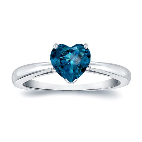 Auriya 14k Gold 1ctw Heart Shape Blue Diamond Solitaire Engagement Ring
