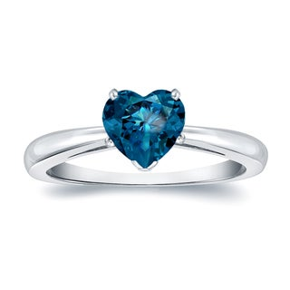 Auriya 14k Gold 1ct TDW Heart Shaped Blue Diamond Solitaire Engagement Ring (Blue, SI1-SI2)
