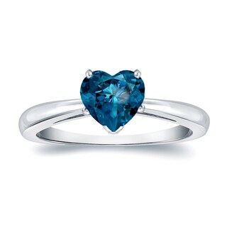 Auriya 14k Gold 1ct TDW Heart Shaped Solitaire Blue Diamond Engagement Ring