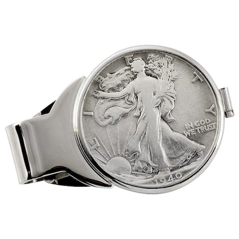 American Coin Treasures Year to Remember Silvertone Half Dollar Coin Money Clip
