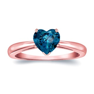 Auriya 14k Gold 1 1/6ct TDW Heart Shaped Blue Diamond Solitaire Engagement Ring (Blue, SI1-SI2) (More options available)