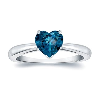 Auriya 14k Gold 1 1/6ct TDW Heart Shaped Blue Diamond Solitaire Engagement Ring (Blue, SI1-SI2)