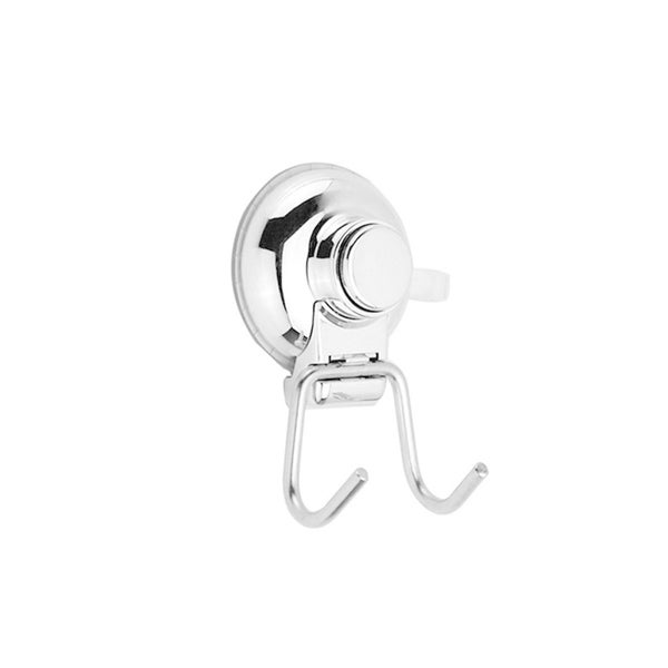 Push to Lock Chrome-finish Stainless Steel Double Hook