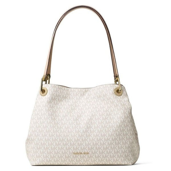 59d3f505cd64 Shop Michael Kors Raven Signature Large Shoulder Tote - Vanilla - Free  Shipping Today - Overstock - 14335315