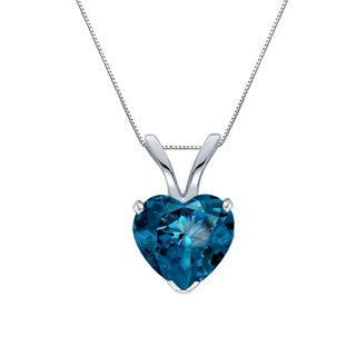 Auriya 14k Gold 1.05ct TDW Heart Shaped Blue Diamond Solitaire Necklace