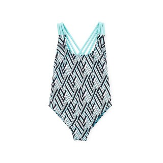 Dippin' Daisy's Girls' Turquoise Angles Strappy Crossback Lowback 1-piece Swimsuit