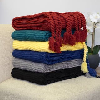 Solid Luxurious 100% Acrylic Throw Blanket (50x60) Assorted Colors