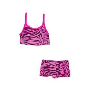 Dippin' Daisy's Girl's Pink Zebra Tankini with Boyshort