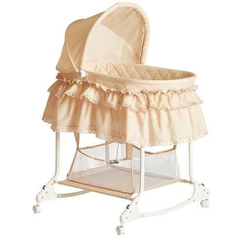 Dream On Me Willow Beige Metal and Fabric Bassinet