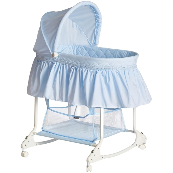 Shop Dream On Me Willow Sky Blue Bassinet Free Shipping