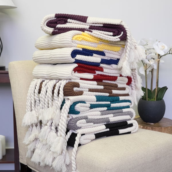 Striped Luxurious Assorted Colors Acrylic Throw Blanket