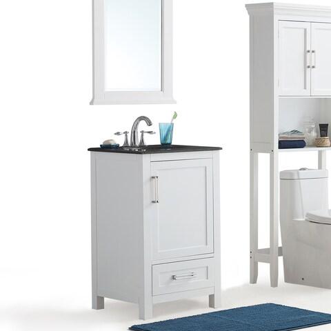 WYNDENHALL Jersey White Bath Vanity with Black Granite Top