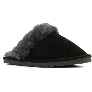 Lamo Ladies' Black Suede, Sheepskin, and Rubber Scuff with Hard Sole