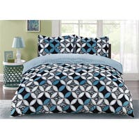 Nettie Teal 3-piece Printed Duvet Cover Set