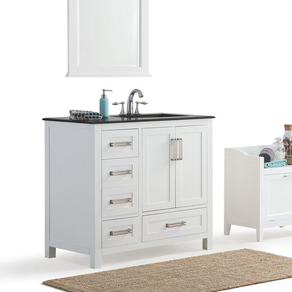 Wyndenhall Jersey White 36 Inch Offset White Bath Vanity With Black Granite Top Free Shipping