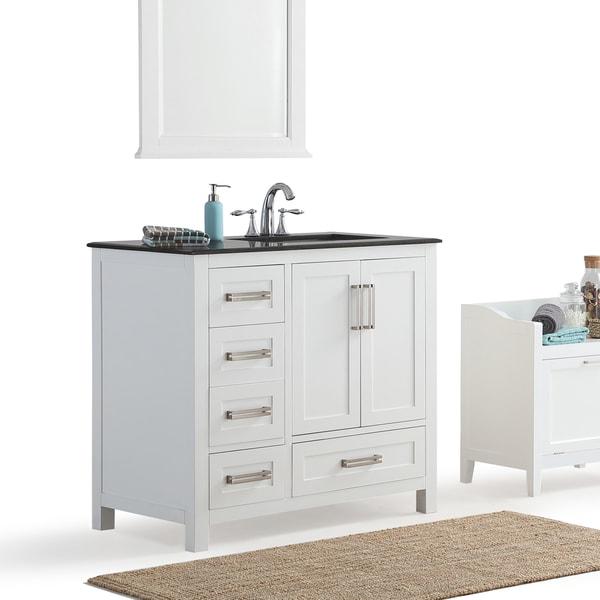 shop wyndenhall jersey white 36 inch offset white bath vanity with black granite top free. Black Bedroom Furniture Sets. Home Design Ideas