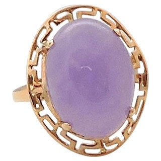 14k Yellow Gold Oval Lavender Jade Ring (Size 7)