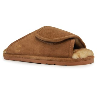 Men's Chestnut Suede, Sheepskin and Rubber Sole Wrap Slippers