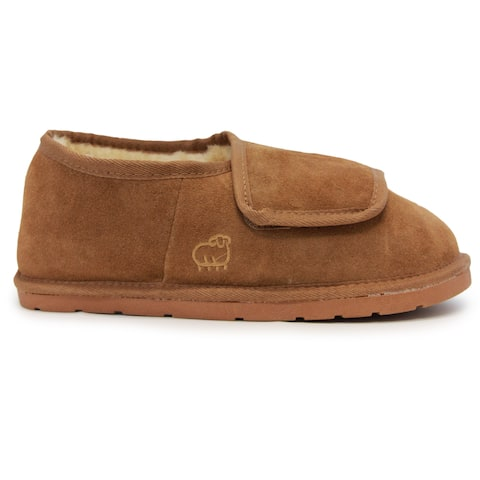 Men's Brown Suede, Sheepskin, and Rubber Closed-toe Slippers