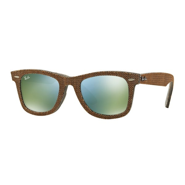 5d25b71e68 Ray-Ban RB2140 11912X Original Wayfarer Denim Brown Grey Frame Green Mirror  50mm Lens