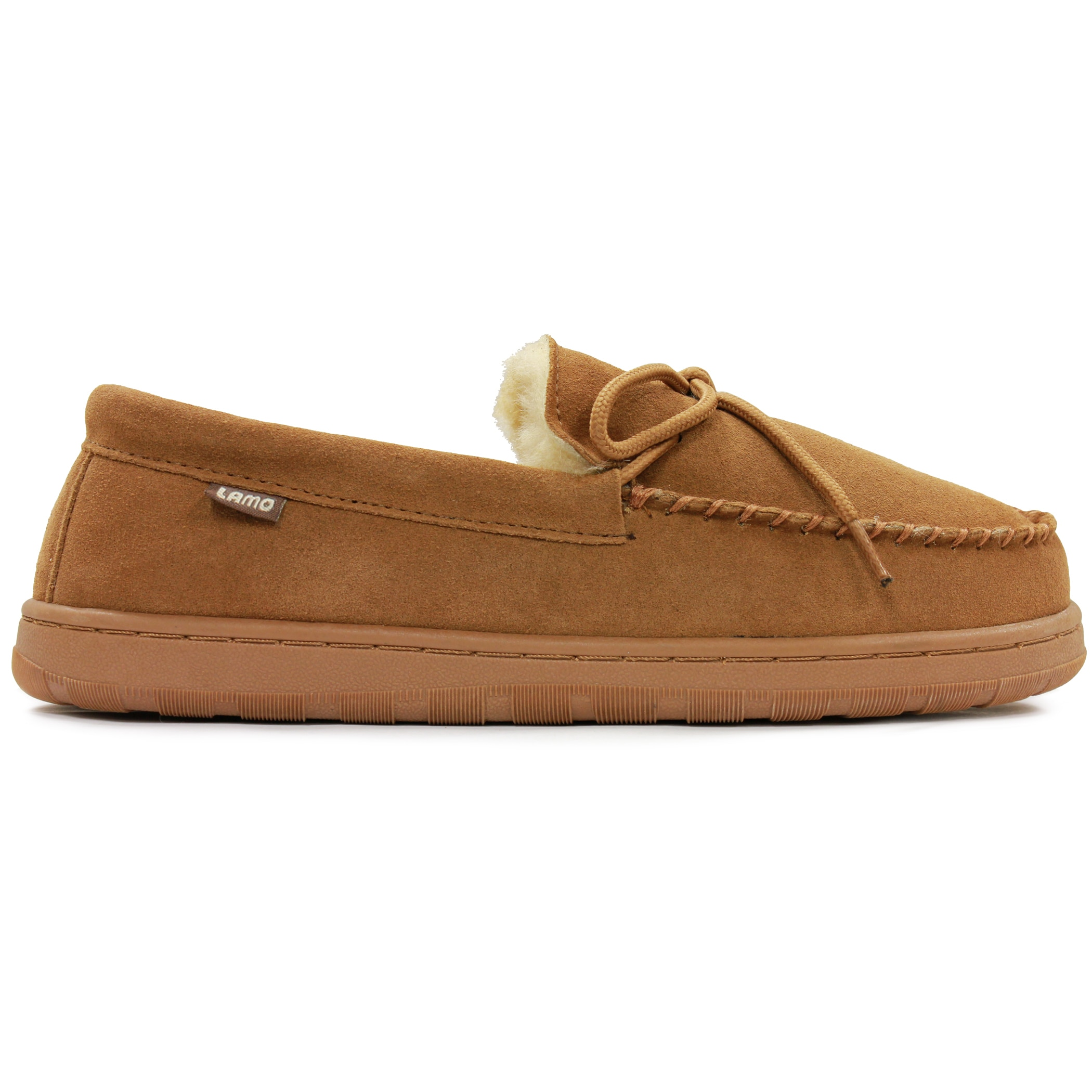 Lamo Men's Brown Sheepskin/Suede Moccasins with Rubber So...
