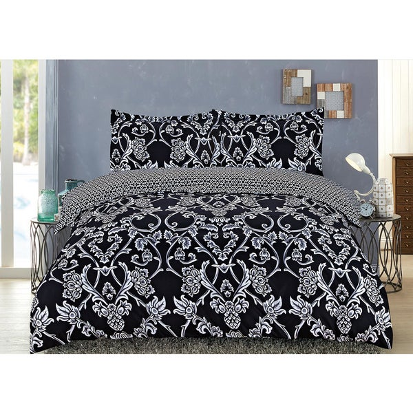 Norah Black 3-piece Printed Duvet Cover Set