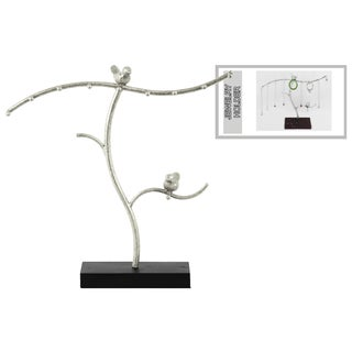 Urban Trends Collection Silvertone Metal Bird Tree Jewelry Holder