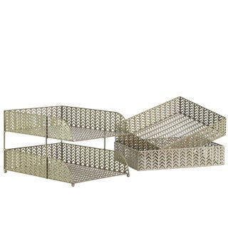 Metal Finish Champagne Rectangular Office Organizer with Pierced Metal Chevron Design Body (Set of 3)