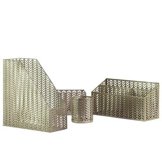 Metallic Finish Champagne Metal Office Organizer (Pack of 4)