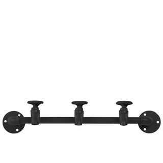 Urban Trends Black Metal Matte-finish Coat Hanger With Plumbing Theme and 3 Faucet Hooks