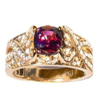 California Girl Jewelry 18k Yellow Gold Ruby and Diamond Ring