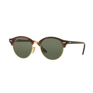 Ray-Ban Unisex RB4246 990 Clubround Tortoise Frame Green Classic 51mm Lens Sunglasses
