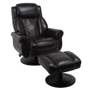 Global Office Furniture Brown Wood and Bonded Leather Recliner