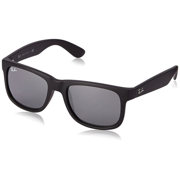 744ee5bd15094 Ray-Ban RB4165 622 6G Justin Black Frame Grey Mirror 54mm Lens Sunglasses