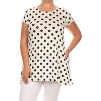 Women's Plus Size White Polka Dot Tunic