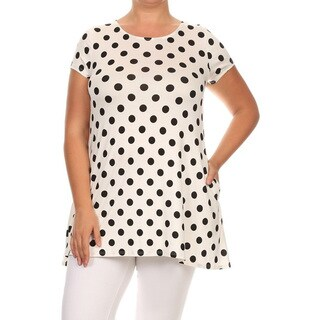 Women's Plus Size White Polka Dot Tunic