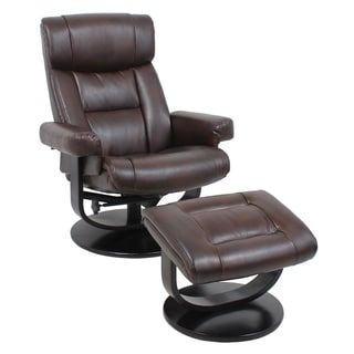 Global Office Furniture Brown Bonded Leather Reclining Office Chair