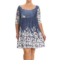 Women's Blue Rayon and Spandex Plus-size Floral Paisley Dress