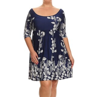 Women's Rayon and Spandex Floral Paisley Plus-size Dress