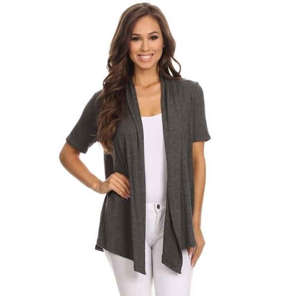 Women's Solid Color Short Sleeve Cardigan