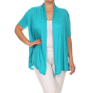 Women's Rayon Plus-size Solid Color Cardigan