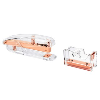 Insten 2-piece Set Clear/ Rose Gold Acrylic Stapler/ Tape Dispenser Stationary Combo Pack