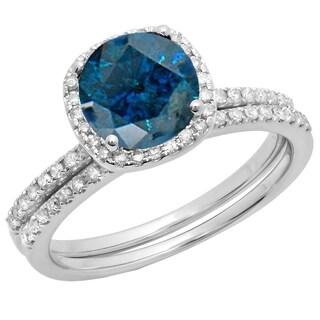 Elora 10k Gold 1 3/4 CT. TDW Round Blue & White Diamond Bridal Halo Engagement Ring Matching Band Set (I-J,Blue & I1-I2,I2-I3)