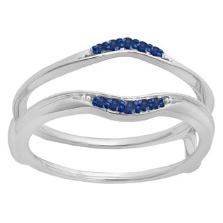 Elora 10k Gold 1/10 ct. Round Blue Sapphire Ladies Anniversary Wedding Band Guard Double Ring (Blue, Highly Included)