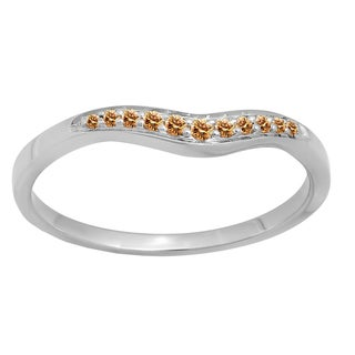 Elora 14k Gold 1/10 CT. TDW Round Cut Champagne Diamond Anniversary Wedding Stackable Contour Guard Band (Champagne & I2-I3)