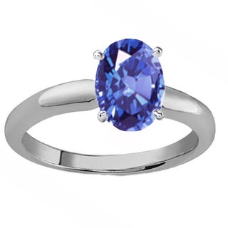 Elora 10k Gold 8X6 MM Oval Cut Tanzanite Ladies Solitaire Bridal Engagement Ring (Blue & Moderately Included)