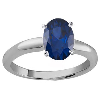 Elora 14k Gold 8X6 MM Oval Cut Blue Sapphire Ladies Solitaire Bridal Engagement Ring (Blue & Highly Included)