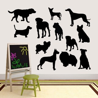 Large Dog Silhouette Set Vinyl Wall Decal