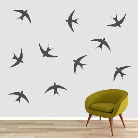Large Swallow Vinyl Wall Decal Birds Set