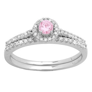 Elora 14k Gold 5/8ct TGW Round Pink Sapphire and White Diamond Accent Bridal Halo Ring Set (H-I, I1-I2)